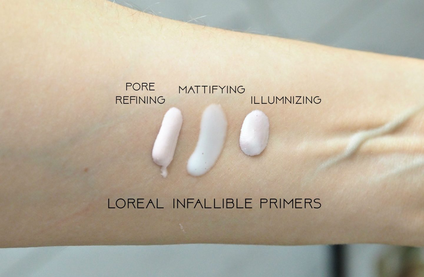 L'Oreal Infallible Mattifying, Illuminizing and Pore Refining Primers swatches