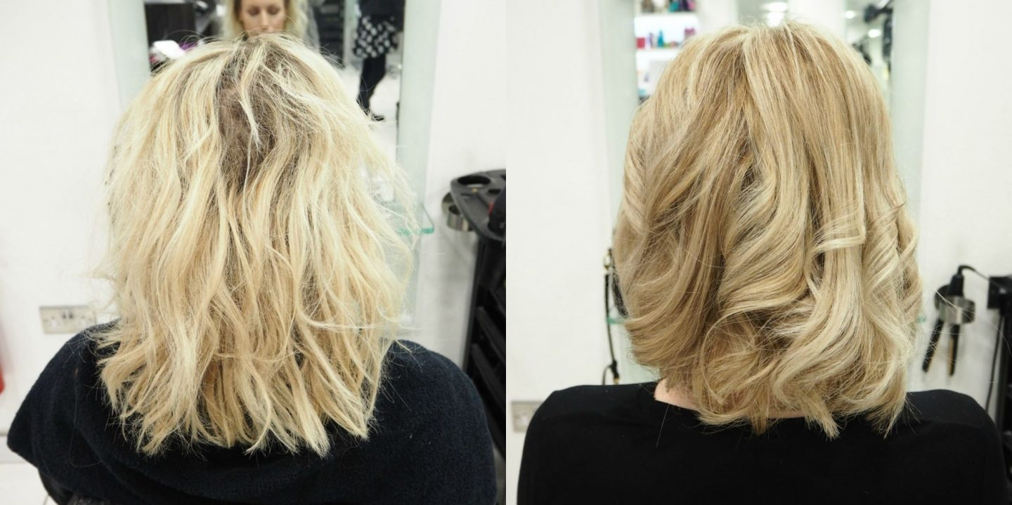 Before and after with Regis hair salon Epsom