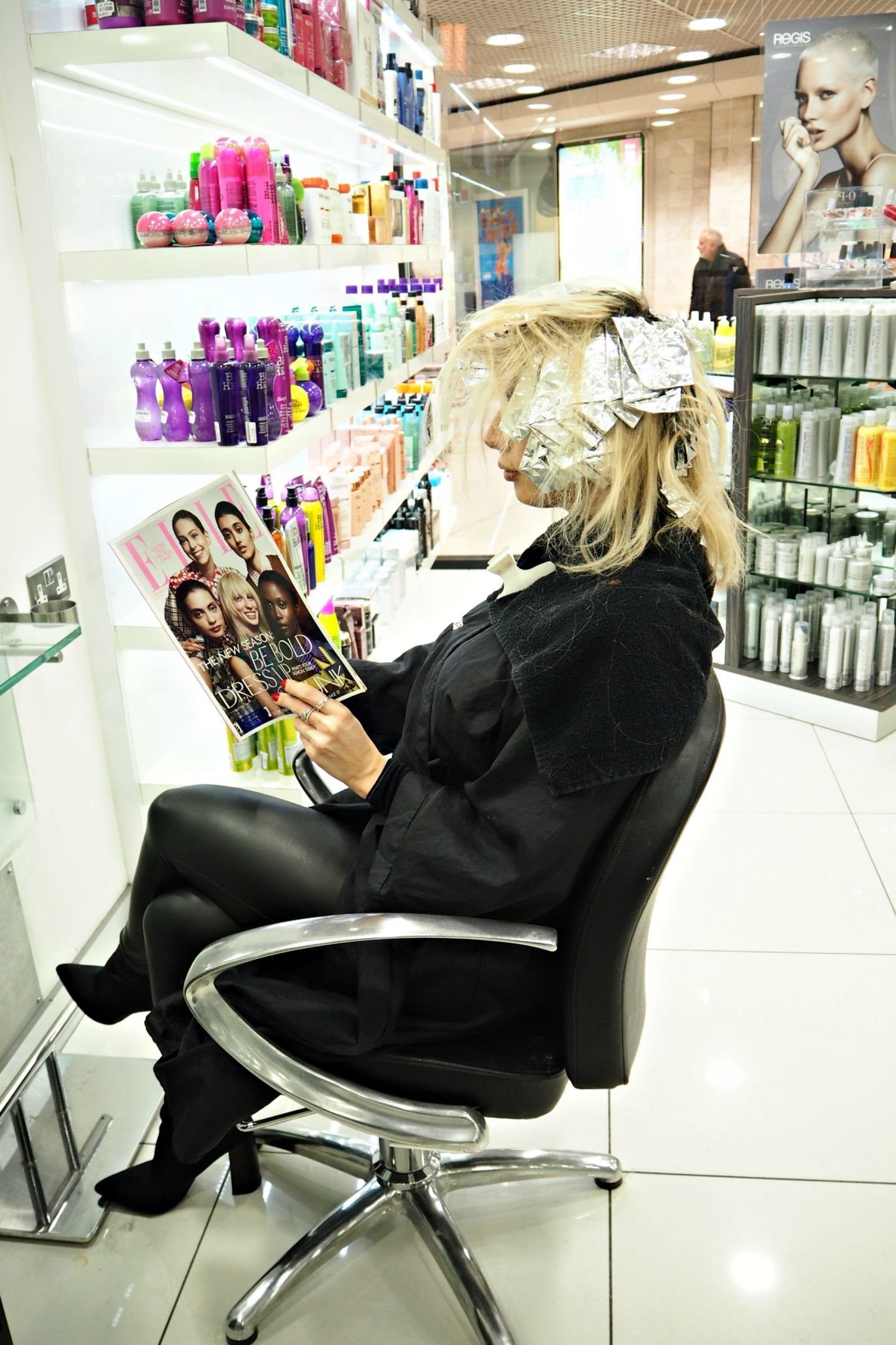 Getting my hair done at Regis hair salon in Epsom