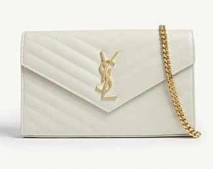 YSL White Monogram Wallet On Chain