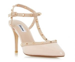 Nude studded court shoe