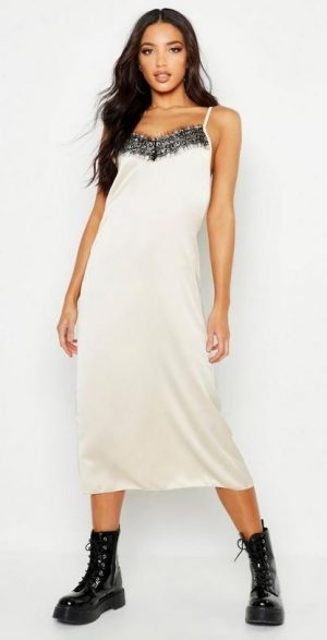 lace slip midi dress