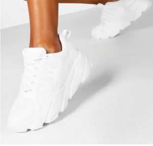 White womens chunky trainers