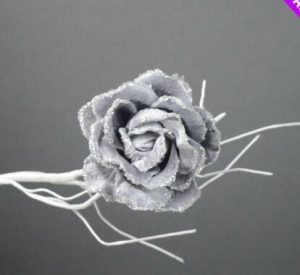 6 Silver Rose Clip On Pick Christmas Decoration