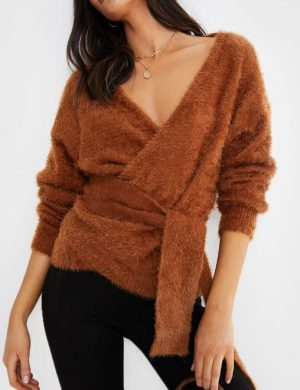 TAN FLUFFY 'BUT FIRST' WRAP CARDIGAN