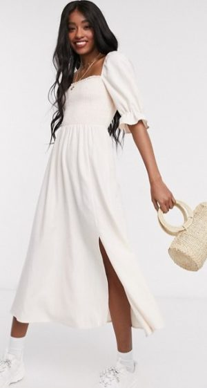 shirred square neck midi dress in pale pink