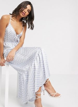 cami tiered maxi dress in stripe