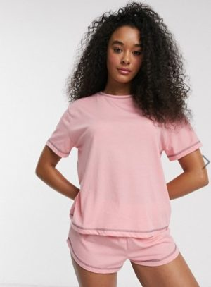 ASOS DESIGN mix & match jersey pyjama tee with overlock