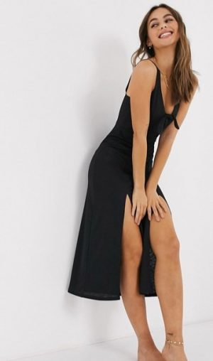 beach dress with knot front in black