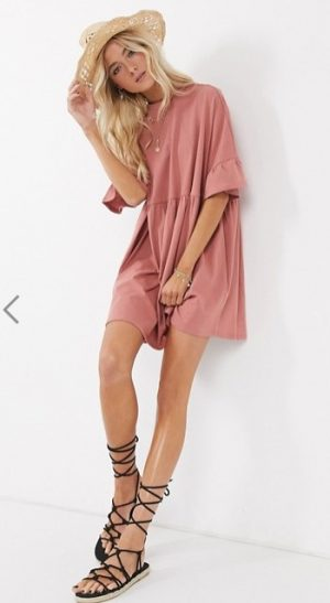 super oversized frill sleeve smock dress in rose