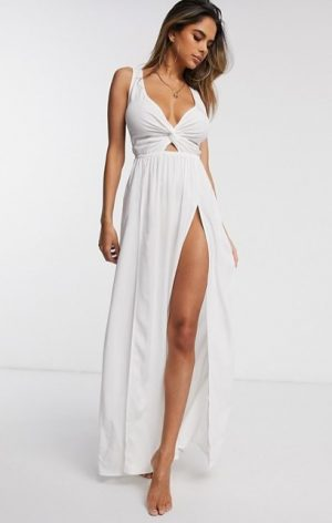 tie back beach maxi dress with twist front in white