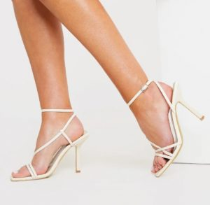 NUDE SQUARE STRAPPY HEELS