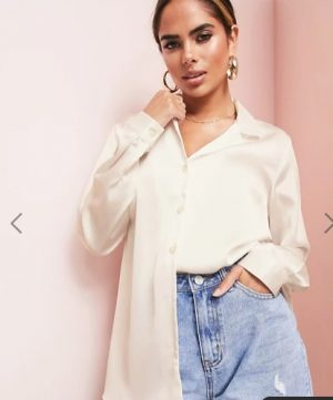 Oyster relaxed satin shirt