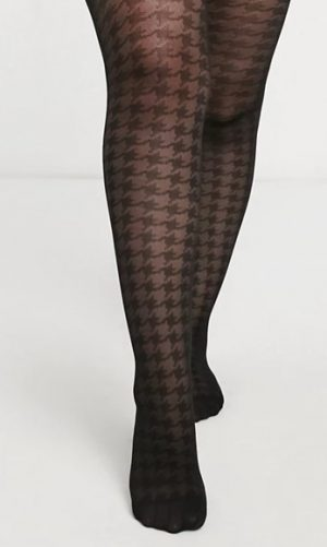 30 denier large houndstooth print tights