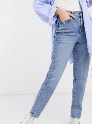 waist enhance mom jeans in mid blue