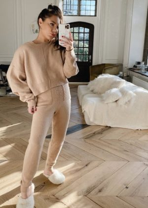LORNA LUXE CAMEL 'MARINA' RECLAIMED KNITTED JOGGER