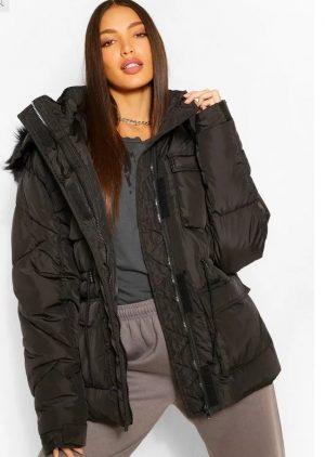 Tall Faux Fur Hooded Waist Cinch PUFFA Coat