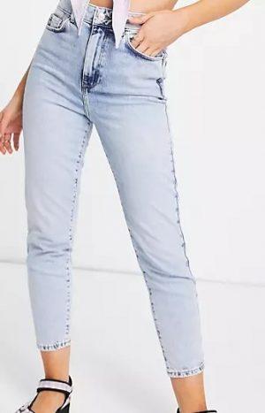 waist enhance mom jeans in light blue